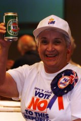 Goma Currey celebrates at the No vote's official function  at the Darling Harbor Convention Centre in Sydney.