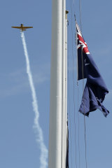 A fly over is performed at the Shrine of Remembrance on Monday.