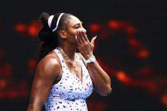 Serena Williams reacts after losing in the third round.