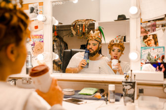 Paul Tabone and Lara Martins, who played Carlotta Giudicelli in The Phantom of the Opera, pose in their dressing room in London. The entire cast has been released because of coronavirus.