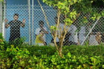 Detainees inside the Manus Island centre in 2013.