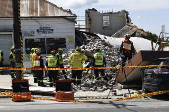 The site of the building collapse on New Canterbury Road in Dulwich Hill.