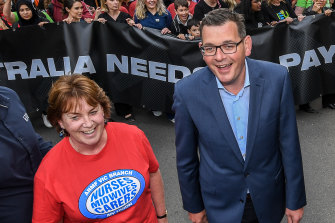 The Australian Nursing and Midwifery Federation's Lisa Fitzpatrick at a rally with Premier Daniel Andrews in 2018.