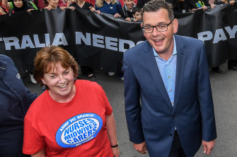 Lisa Fitzpatrick with Daniel Andrews in 2018