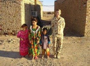 Sarah Watson with Iraqi children.