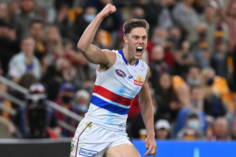 Scache celebrates a goal for the Bulldogs.