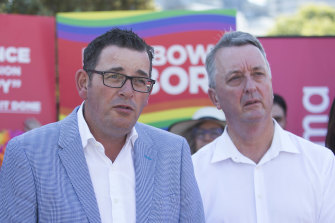 Premier Daniel Andrews with Health Minister Martin Foley at last year's St Kilda Pride March.