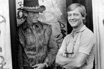 """""""Hoges"""" and """"Strop"""" on the set of Crocodile Dundee in 1986."""