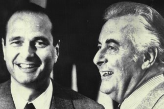 Jacques Chirac, then France's prime minister, with Australian counterpart Gough Whitlam in January 1975.