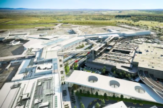 An overview of the newly conceived airport with its simplified launch pad.