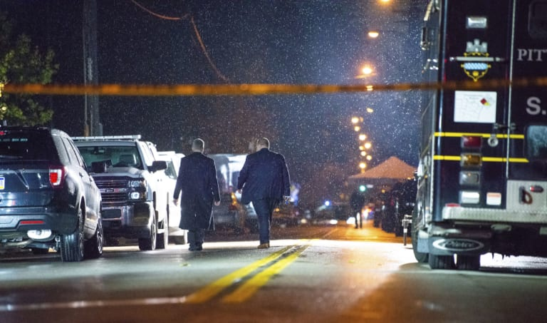 FBI investigators at the Tree of Life Congregation in the Squirrel Hill section of Pittsburgh.