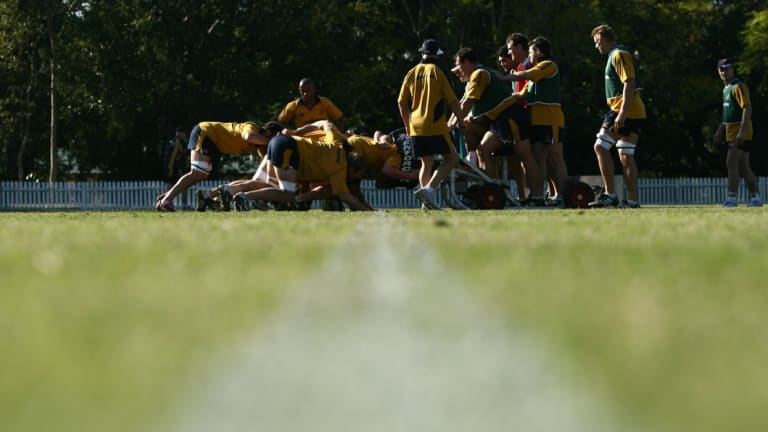 Turf war: Wallabies training at Marist Ashgrove in 2006. The school has long been a rugby stronghold in Brisbane.