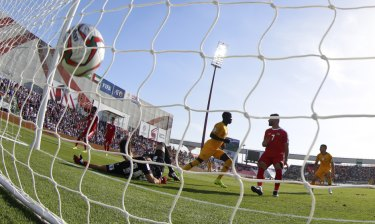 Australia's midfielder Awer Mabil finds the back of the net.