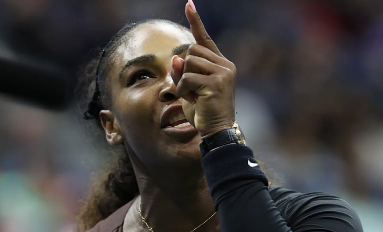 Serena Williams argues with chair umpire Carlos Ramos during the US Open final.