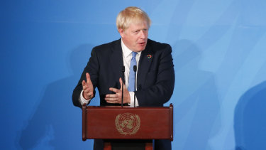 Elton old boy: British Prime Minister Boris Johnson addresses the Climate Action Summit at the UN General Assembly.