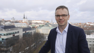 Estonian foreign minister Sven Mikser on the balcony of his office in Tallinn.