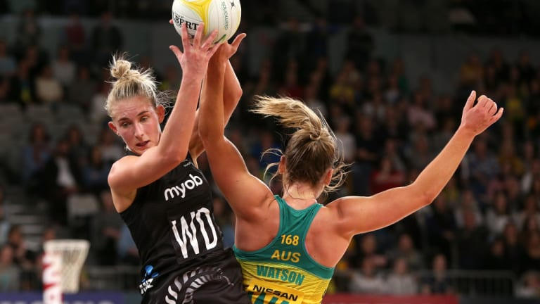 Michaela Sokolich-Beatson of the Silver Ferns (left) during the recent Quad Series.