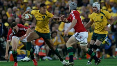 Meteoric rise: Israel Folau faced the might of the British and Irish Lions during his first season in rugby.