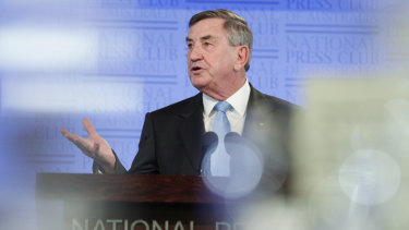 John Lord, Chairman of Huawei Technologies Australia, addresses the National Press Club of Australia in Canberra in June.