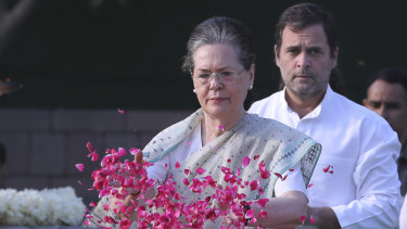 Sonia Gandhi has been named interim president of the United Progressive Alliance after her son Rahul Gandhi (right) resigned.
