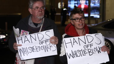 Protestors at the ABC in Sydney during the Australian Federal Police raid on Wednesday.