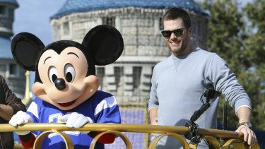 Celebration: Tom Brady at Disneyland following his sixth Super Bowl win earlier this month.
