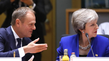 European Council President Donald Tusk and British Prime Minister Theresa May during Sunday's round table meeting in Brussels.