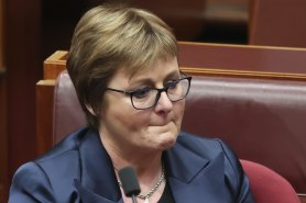 An emotional Minister for Defence Linda Reynolds in Parliament on Thursday where she apologised to Higgins.