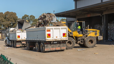 Recycling collected by councils and given to SKM was bulldozed into trucks and dumped at Ravenhall tip.
