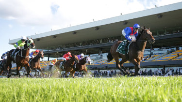 Lost And Running holds his rivals off comfortably in the Luskin Star Stakes.