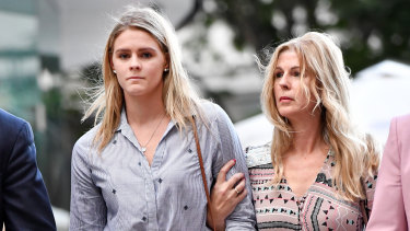 Swimmer Shayna Jack (left) and her mother Pauline leave the briefing with ASADA  in late July.