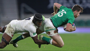 Maro Itoje makes a tackle during England's win over Ireland.