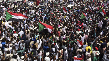 Demonstrators gather in Sudan's capital of Khartoum in April.