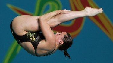 Chantelle Newbery competing in the women's 10m platform final at the Melbourne 2006 Commonwealth Games.