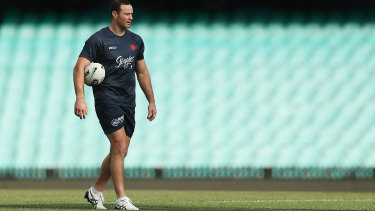 Roosters skipper Boyd Cordner trains on the SCG in the lead-up to the October 6 NRL grand final.