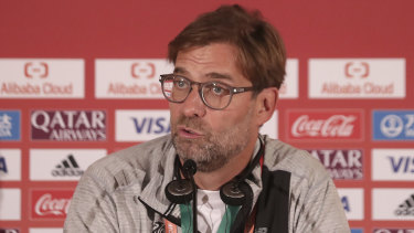Liverpool manager Jurgen Klopp addresses the media in Doha, Qatar before his side's Club World Cup semi-final soccer match against Monterrey.
