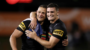 Nathan Cleary and Scott Sorensen celebrate another Panthers win.
