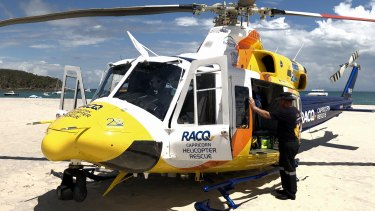 FILE IMAGE: The RACQ Capricorn Rescue helicopter flew a medical team to North West Island on Monday evening.