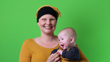 Brisbane mum Kymme Davey was diagnosed with breast cancer while 35 weeks pregnant with her second child.