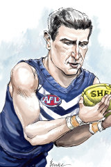 AFL great and Dockers legend Matthew Pavlich is hoping research on his brain can help unlock the secrets of concussion's long-term impact. Illustration: Joe Benke