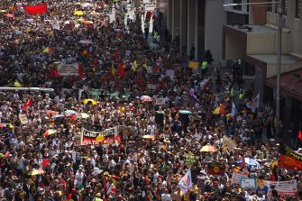 More than 10,000 marched through Sydney to mark January 26 as Invasion Day.