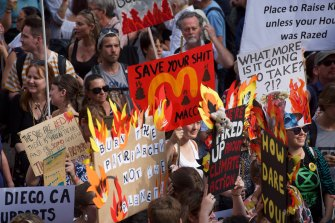 Thousands of protesters in Sydney calling for action on climate change earlier this year.