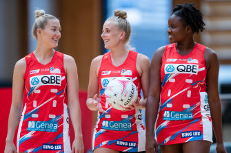Swifts stars Lauren Moore, Maddy Turner and Sam Wallace.