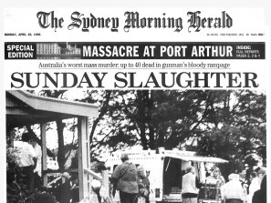 Page one of the Sydney Morning Herald on April 29, 1996. The photo was taken by a Port Arthur tourist soon after the rampage began at the Broad Arrow Cafe, where the gunman left more than 20 dead.