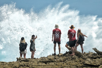 Tehlara Lovett, second  from left, and friends at Devil's Tears on Lembongan Island.