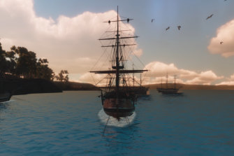 The First Fleet at Sydney Cove in 1788 as envisaged for the Australia Day concert.