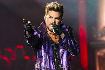 Adam Lambert performs with Queen at AAMI Park.
