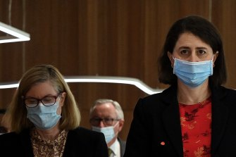 NSW Premier Gladys Berejiklian, together with Chief Health Officer Kerry Chant and Health Minister Brad Hazzard, warns the pressure on the hospital system will be most acute in October.