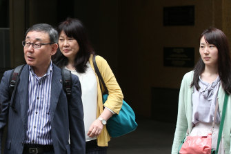 Family members of Yosuke Kanno leave the Coroners Court on Tuesday.