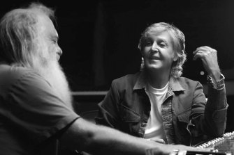 """""""It was good, you know,"""" says McCartney with a sweet smile, as he and Rick Rubin listen to George Harrison's acoustic guitar intro to And I Love Her."""